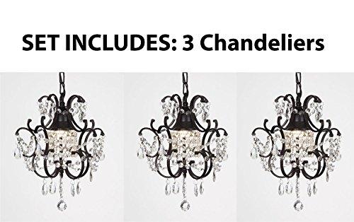 Chandeliers Wrought Iron Crystal Chandelier Island Pendant Lightingnbsph14&quot W11&quot set Of 3
