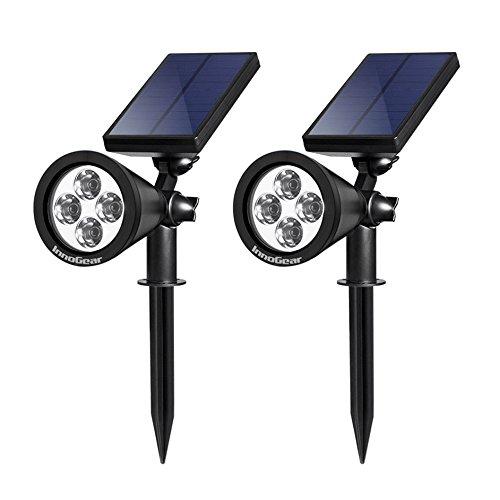 Innogear Solar Lights Spotlight Outdoor Landscape Lighting Wall Light Pack Of 2 warm White Light