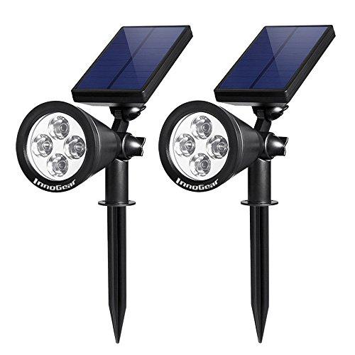 Innogear Solar Lights Spotlight Outdoor Landscape Lighting Wall Light Pack Of 2 white Light