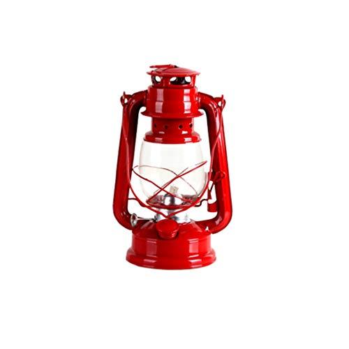 Uonlytech Retro Kerosene Lamp Portable Night Light with Handle Desktop Lantern Decor for Home Bedroom Living Room Camping Red