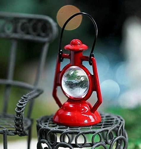 YUKISTORE Miniature Dollhouse Fairy Garden Red Metal Kerosene Lantern - DIY for Miniature Fairy Garden Accessories for Outdoor or Garden Decor