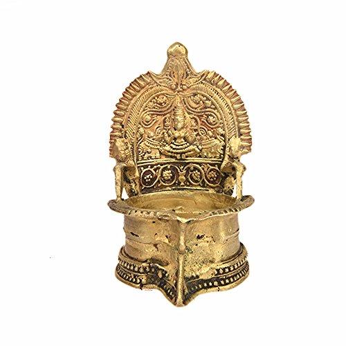Indianshelf Handmade Brass Gajalakshmi Oil Lamp Statues Decoration Designer Vintage Statement Pieces Online New