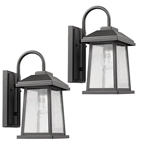 Textured Black Outdoor Wall Sconce Rectangular Glass Lantern Lamp 2-Pack