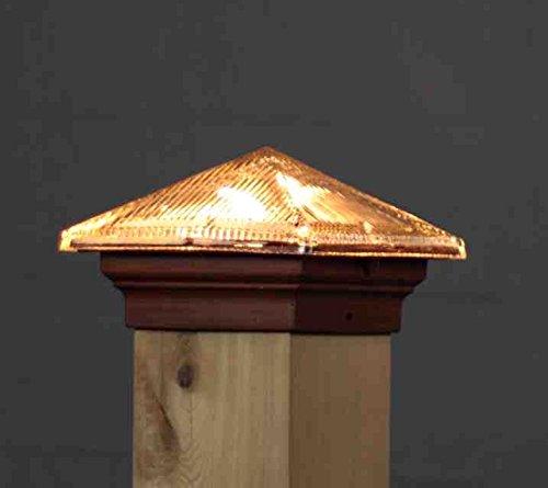 Aurora Glass Roof Pyramid 12V Deck Light 3-12 4x4 wood Post 18W Brown