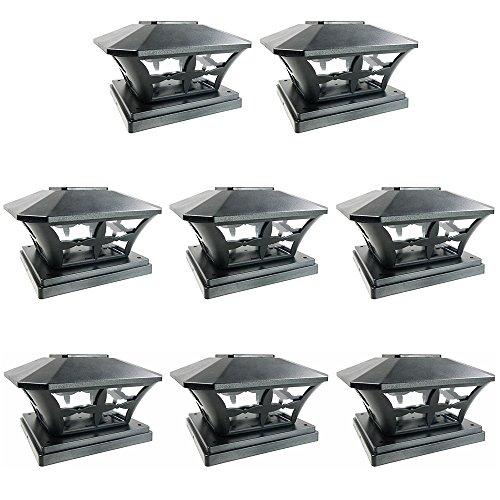 Iglow 8 Pack Black Outdoor Garden 6 X 6 Solar Smd Led Post Deck Cap Square Fence Light Landscape Lamp Pvc Vinyl