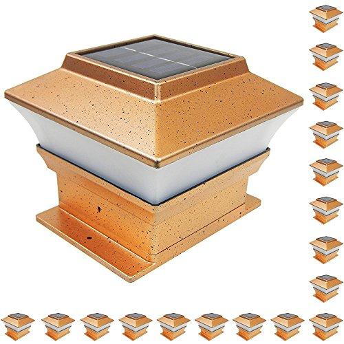 Iglow 18 Pack Copper Outdoor Garden 4 X 4 Solar Led Post Deck Cap Square Fence Light Landscape Pvc Vinyl Wood