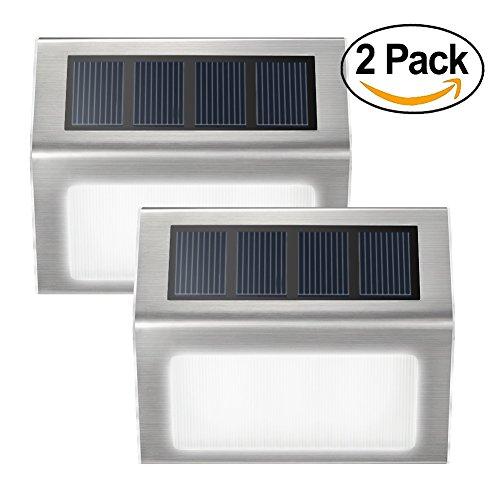 Lendoo Solar Step Light Updated Light-sensor Stainless Steel Led Pathway Stair Deck Light Waterproof Automatic