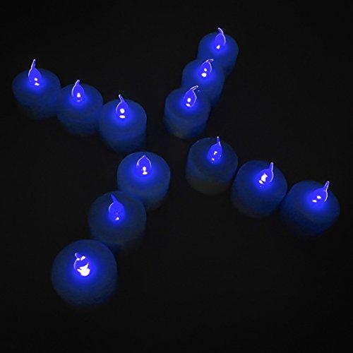 12-packs Blue Led Plastic Tea Tealight Candles Lamp Flameless Shine Anniversary Wedding Party Restaurant Atmosphere