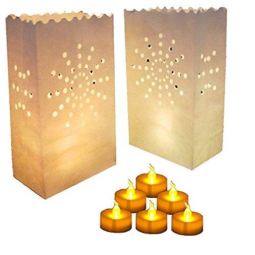 30 Flameless Tea Lights - Yellow Flickering LED Tealight Candles with 30 Bonus Luminary Bags