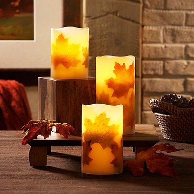 Loft Living 3-piece Flameless Led Harvest Pillar Candle Set With Charming Fall Motif