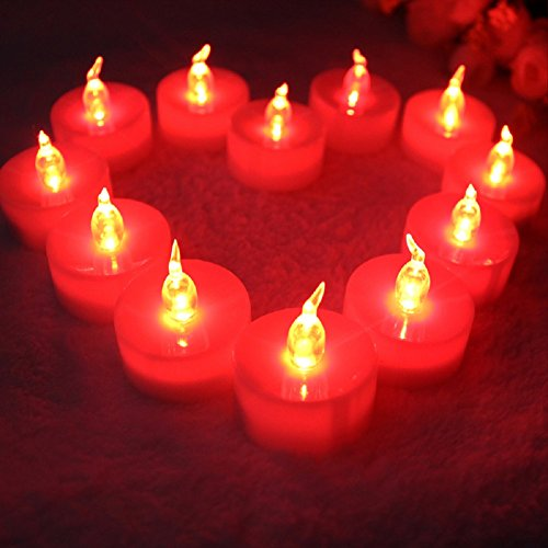 Tbw 12 Flameless Candles - Red Flameless Led Flickering Tealight Candles Battery Powered - Led Electric Tea Lights