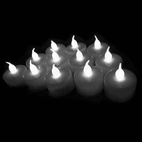 12-packs White Led Plastic Tea Tealight Candles Lamp Flameless Shine Anniversary Wedding Party Restaurant Atmosphere