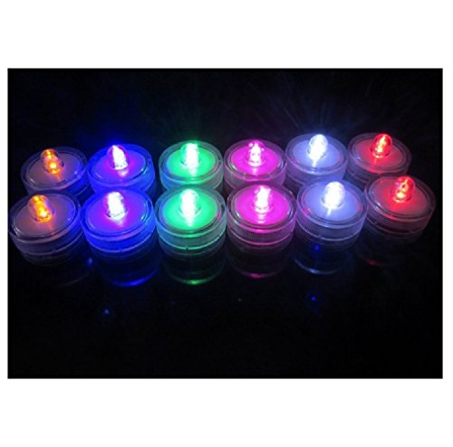 Livingly Light Home Decorations LED Tea Candles Bulb Battery Operated Flameless for Seasonal Festival Celebration Pack of 12 Electric Fake Candle in Multi-Color Flashing and Wave Open