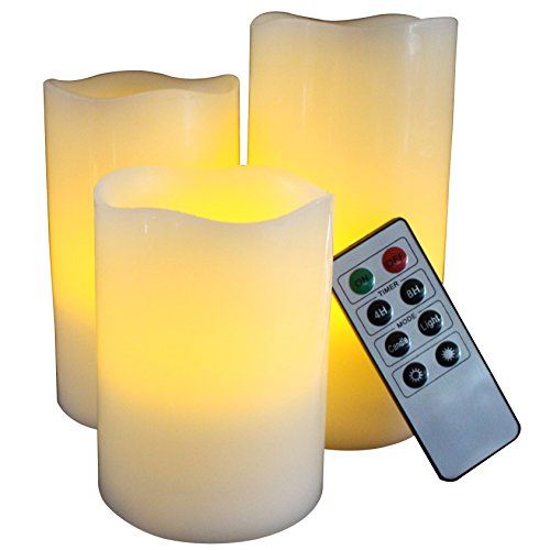 Led Lytes Battery Operated Flameless Unscented Ivory Waxamp Amber Yellow Flame Candles With Remote 3 Pack