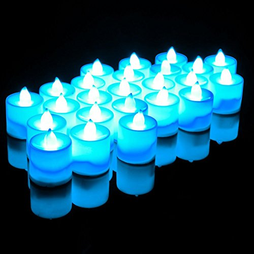 FUJINET 24 Pack Flameless LED Realistic Candles Night Lights Battery Powered Unscented Lightings for Wedding Decorations Blue Light