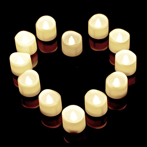 Flameless Candles12 White Bright Flickering Bulb Battery Operated Realistic Decor Unscented Led Tea Light Candle