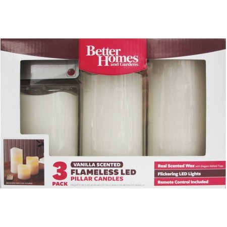 3 Pack Flameless LED Pillar Candles Vanilla