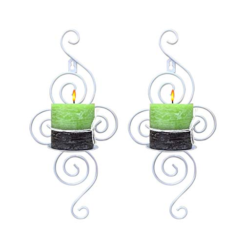 Dyna-Living Wall Candle Sconces Set of 2 Pcs Candle Holder Elegant Swirling Iron Hanging Wall Mounted Candle Holder Sconces for Home Decorations Weddings Events White