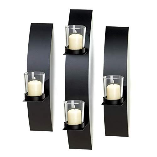 Home Locomotion Black Wall Candleholder Set