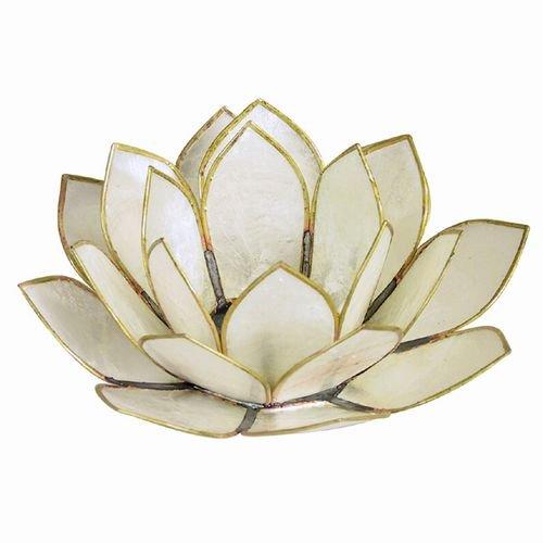 World Buyers Capiz Tea Light Holder Three Rings of Translucent capiz Shell Petals-Flickering Light Decor Measures 5 Dia White