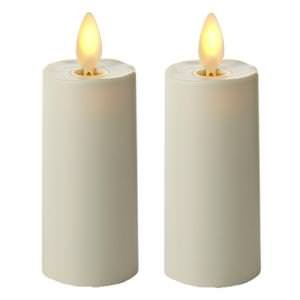 Luminara 02020 - 175&quot X 3&quot Ivory unscented Votive Wavy Edge Realistic Flame Led Plastic Candle Light With Timer