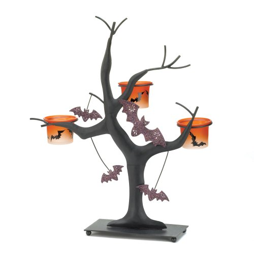 Spooky Halloween Theme Orange Candle Cup Holder Tree Decor