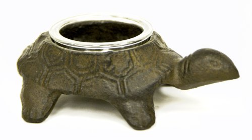 Caffco International Cast Iron Turtle Candle Holder With Glass Votive Cup