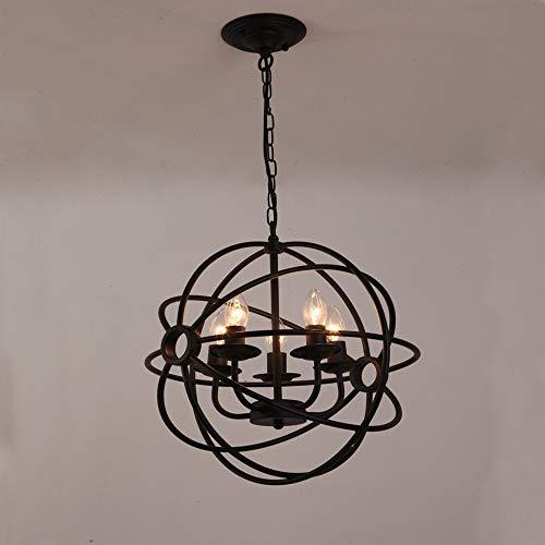 Metcandy Vintage Ball Pendant Light Black Iron Cage Pendant Lamp Candle Globe Chandelier