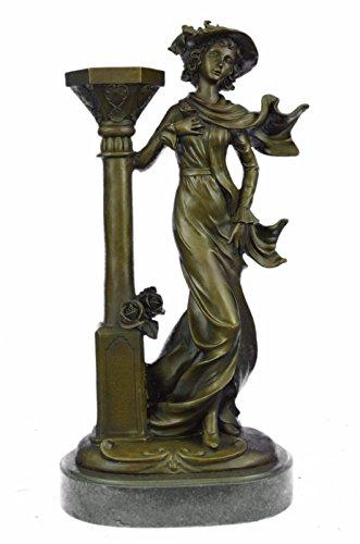 Handmade European Bronze Sculpture Victorian Hot Cast Art Nouveau Style Candlestick Candleholder Bronze Statue -JPYRD-1336-Decor Collectible Gift