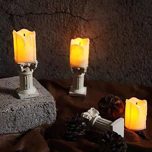 LED Tealights Candle Light 3pcs Vintage Pastoral Nordic Wind Model House Decoration Candlestick Candle Electronic Night Light Modern