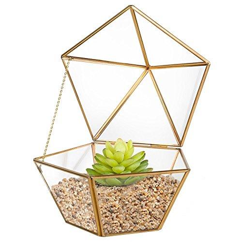 Homeideas Clear Glass Metal Faceted Tabletop Air Plant Terrarium Box  Decorative Tea Light Candle Holder 69