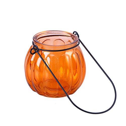 Uonlytech Hanging Candle Holders Halloween Pumpkin Glass Tealight Candle Holder Party Wedding Halloween Home Decor Orange