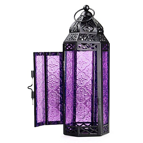 Lilys Gift Glass Metal Moroccan Garden Candle Holder Tablehanging Lantern Purple
