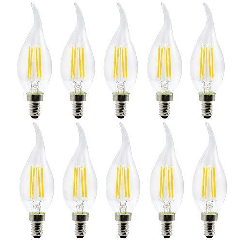 Energy saving lamp Office Or Habitation Use Etc(10 Pack) Exhibition E12 LED Bulb Filament Bulb LED Candle Lamp 4W Eq Replacement 35W Halogen Lamp AC 110-130V Vintage COB LED Light Desirable For Pub