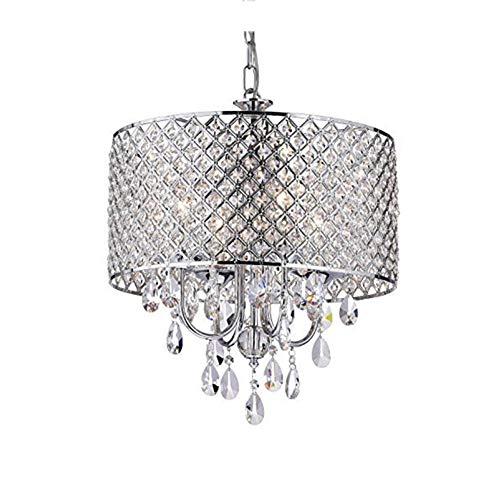 Homefami 4-Light Crystal Chandelier Modern Hanging Ceiling Fixture for Dining Room Bathroom Bedroom Livingroom E12 LED Bulbs Required