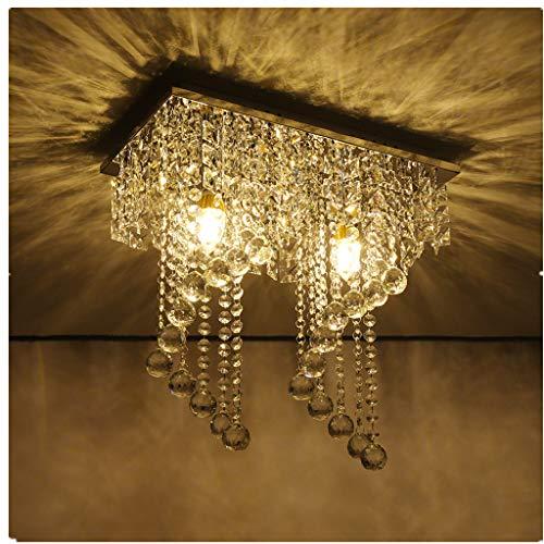 Lataw Modern Crystal Raindrop Drum Chandelier 2 Lights Home Decor Lighting Flush Mount LED Ceiling Light Fixture Lamp for Dining Room Bathroom Bedroom Living Room E12 LED Bulbs