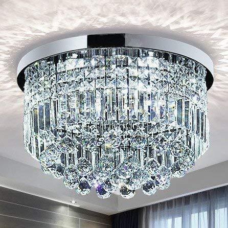 Saint Mossi Modern K9 Crystal Raindrop Chandelier Lighting Flush Mount LED Ceiling Light Fixture Pendant Lamp for Dining Room Bathroom Bedroom Livingroom 9 E12 LED Bulbs Required Height 11 x Width 20