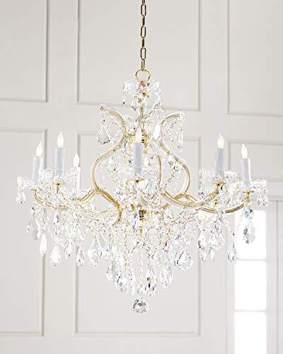 Saint Mossi Modern K9 Crystal Raindrop Chandelier Lighting for Dining Room Bathroom Bedroom Livingroom 10 E12 LED Bulbs Required Gold Finishing Height 31 x Width 35