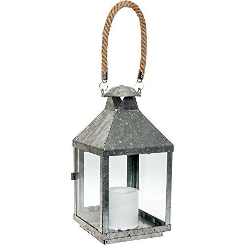Paradise Gl28672mgv Galvanized Metal Led Flameless Candle Lantern W Rope Handle