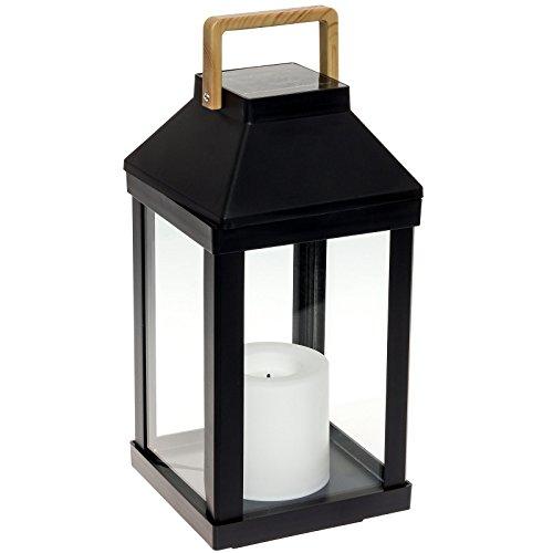 Paradise Gl29968bk Metal Solar Led Flameless Candle Lantern black