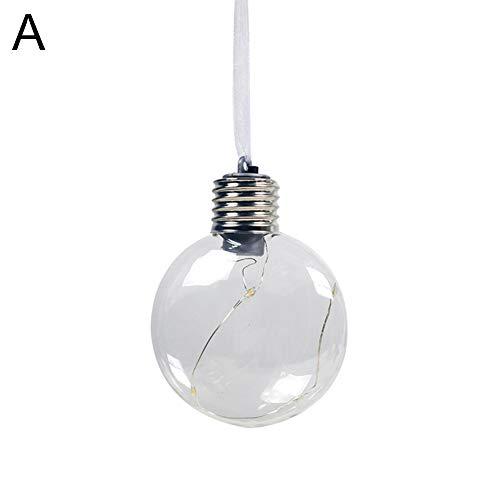 CHicoco Decorative Light Bulb Christmas Tree PET Filament Ball Hanging Battery Operate Lamp Decor A
