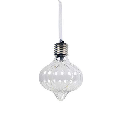 smallwoodi Decorative Light BulbChristmas Tree PET Filament Light Bulb Ball Hanging Battery Operate Lamp Decor Christmas Tree Lighting Pendant Christmas Decoration Christmas Supplies G