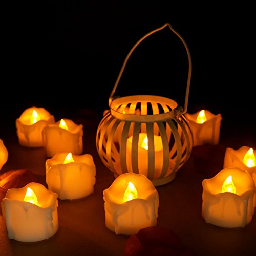 Youngerbaby 12pcs Flicker Yellow Amber Battery Operated Candles Unscented Small Flameless Candles Electric LED Candle Led Tea Lights for Wedding Christmas and Party 12pcs Flickering Yellow