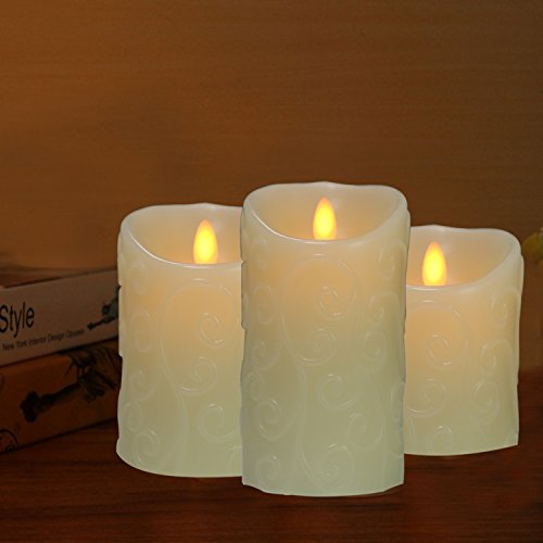COOSA Unique Design Embossed Pattern Dancing Wick Flameless LED Wax Candle Remote Control White