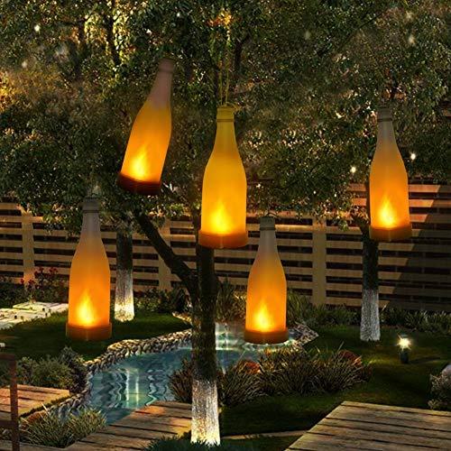 Anordsem 5 Pcs Solar Lights Garden Flickering Flame Effect Bottle Lights Outdoor Decorative Hanging Lights for Garden Patio Yard Home Chrismas Tree Party