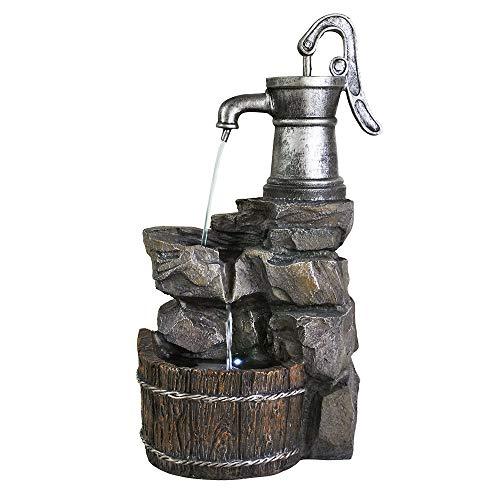 Ferrisland 3-Tier Old-Fashioned Pump Barrel Fountain - Rustic Outdoor Waterfall for Garden Patio Deck Porch - Yard Art Decor