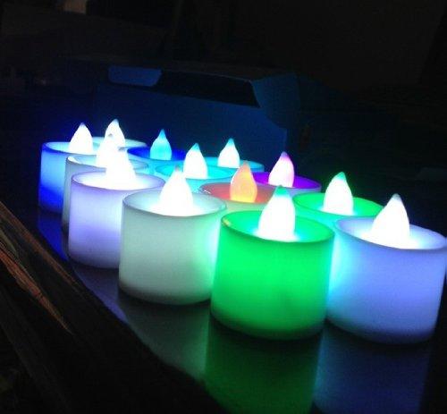 Samyo Set Of 24 Battery Flamelessamp Smokeless Color-changing Led Tealight Candles