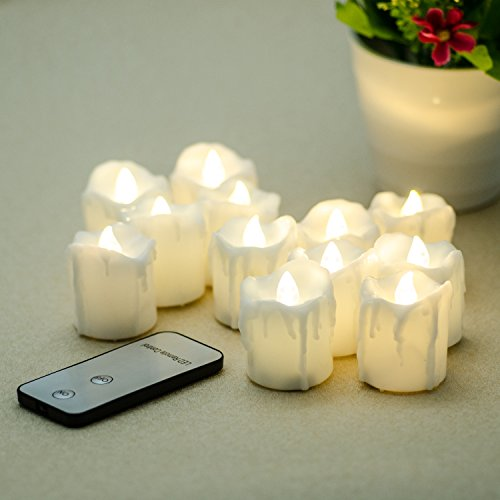 LED Flameless Candles Punasi Battery-Powered LED Candles with Remote Control Dripping Effect and Flickering Light - 12 Packs 17 Inches Warm White