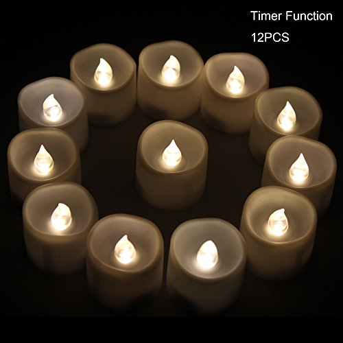 XABL Christmas Halloween Lights Battery LED Candles with Timer Automatic Candles- 12 Small Flickering Flameless Tealight with Timer 6 Hours on and 18 Hours Off Dia 14x16 Height Electric Candles Votive Candles Centerpieces Wedding Decoration Ch