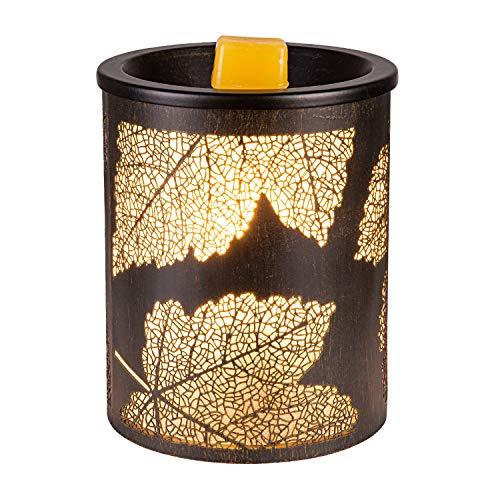 SUNPIN Electric Fragrance Candle Warmer Antique Color Iron-Art Black Maple Leaf DesignLantern Look